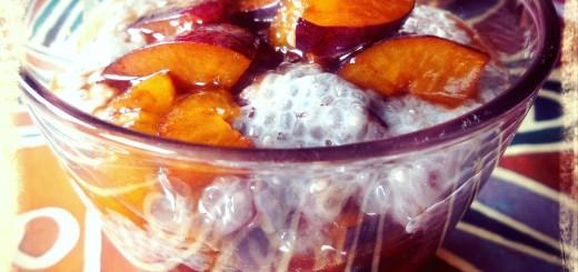 Chia Pudding mit Pflaumenkompott roh vegan