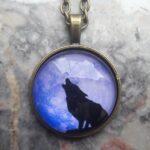 Wolf Krafttier Anhänger Halskette Talisman