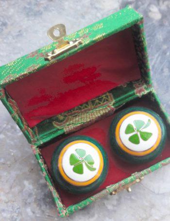 Chinesische Qi Gong Klangkugeln Kleeblatt grün