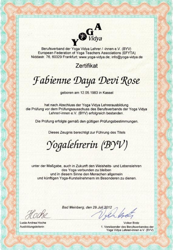 mojo di zertifikat yogalehrer