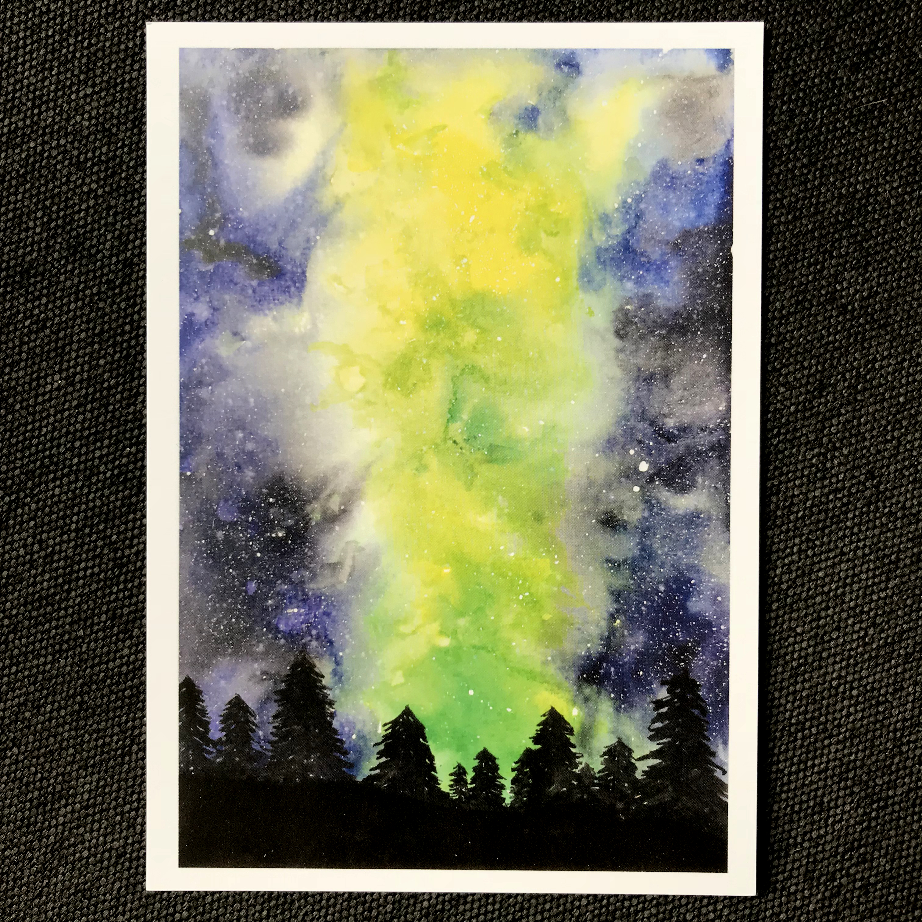 Kunstdruck Watercolor Galaxy Aurora Borealis