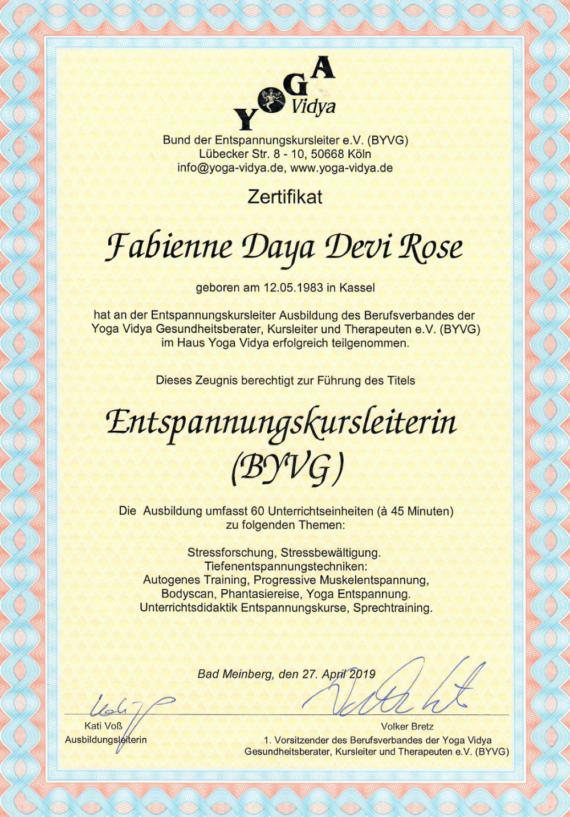 Zertifikat Entspannungskursleiter