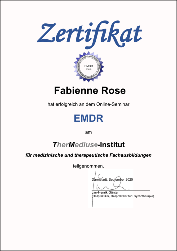Mojo Di EMDR Zertifikat