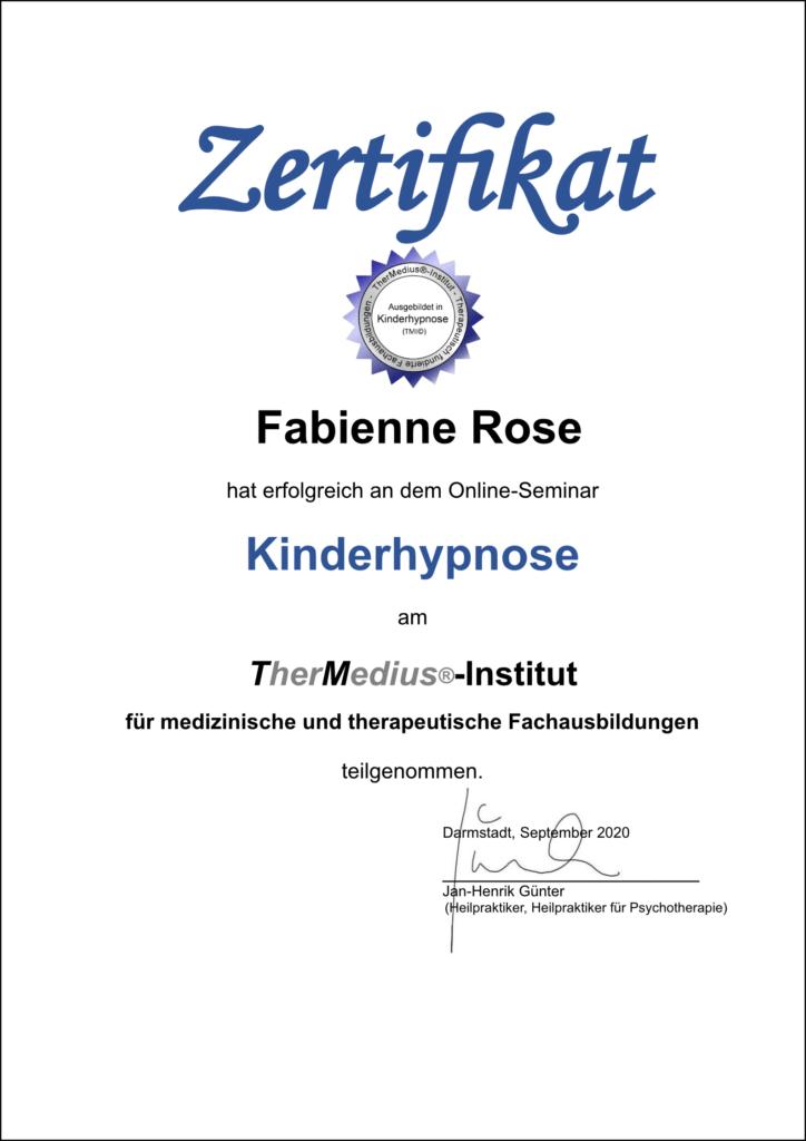 Mojo Di Zertifikat Kinderhypnose