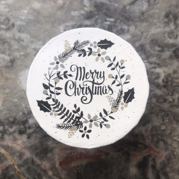 Geschenkbox rund klein Merry Christmas