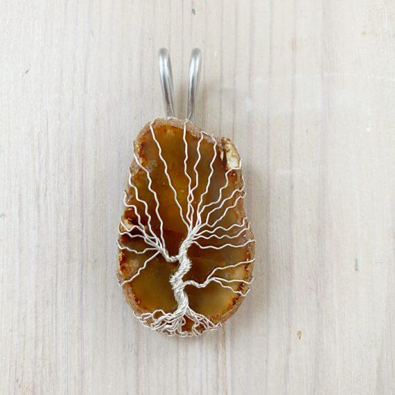 Achat Lebensbaum Anhänger Braun