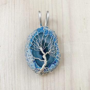 Achat Lebensbaum Anhänger Blau