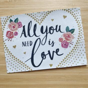 Postkarte Decoupage Love