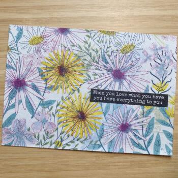 Postkarte Decoupage Zitat